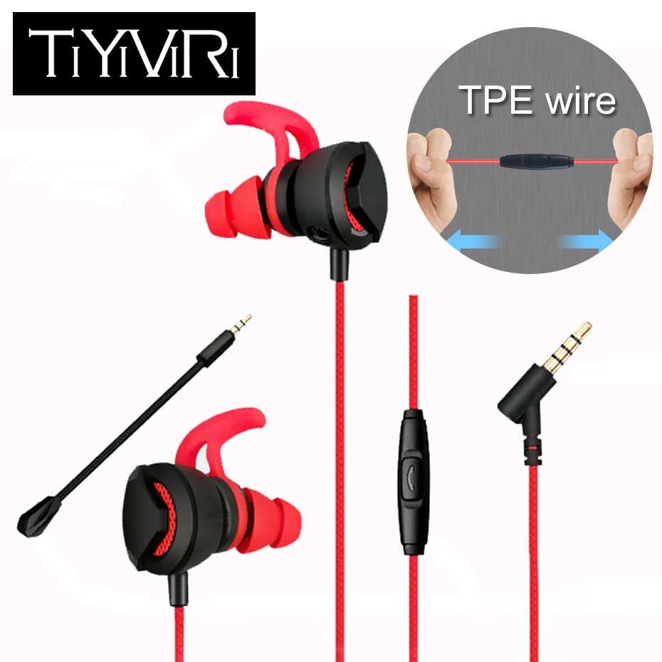 TiYiViRi For PS4 Gaming Earphone Light Weight Bass Music Running 3.5mm Headphone with Microphone Universal for Computer Games image