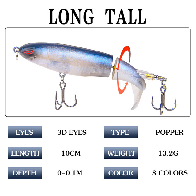 Fishing Spinner Lures popper with Rotating Spinner Rattle Tail for Bass Trout Walleye Pike Musky Crappie Muskie Top Water 3