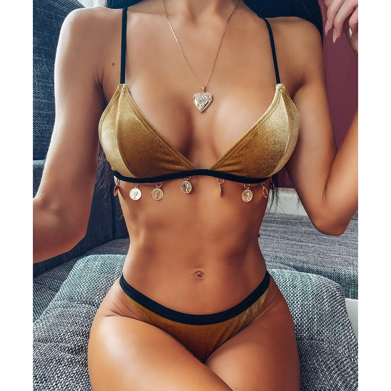 Golden Velvet Bikini 2020 Women Bandeau Swimsuit Female Swimwear Two-pieces Bikini Set Brazilian Bather Bathing Suit Swim Wear