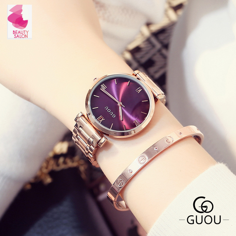 Purple colorful quartz large dial European and American Style fashion women watch rose gold steel belt watch female reloj mujer