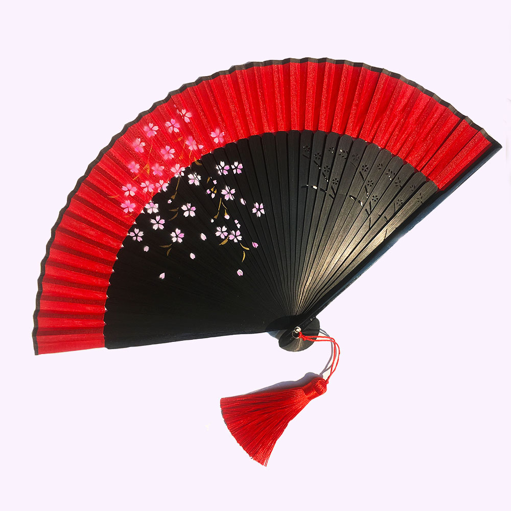 Japan DIY Plain Color Bamboo Large Rave Folding Hand Fan Cos  Event Party Supplies Ancient Style