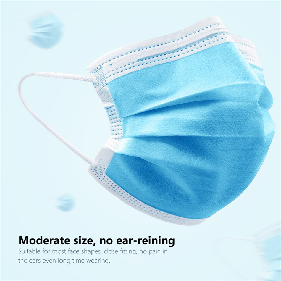 1000PCS Disposable Anti-Dust Protection Earloop Masks Spot Mouth Masks Nonwove 3 Layer Ply Anti-dust Mask 2020 Hot Sale