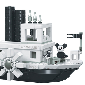 Image 4 - 842PCS Small Building Blocks Toys Compatible Lepinging Mickey Minnie Steamboat Willie Gift for girls boys children DIY