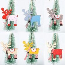 Modernos De Navidad Painted Wooden Reindeer Christmas Pendants Xmas Tree Hanging Ornaments