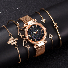Luxury Brand Rose Gold Starry Sky Dial Watches Women Ladies Crystal Bracelet Qua