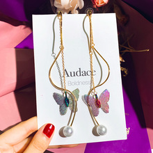 цены на new arrival dangle 1pair zinc alloy long butterfly golden shuttle embroidery crystal temperament trendy drop earrings  в интернет-магазинах
