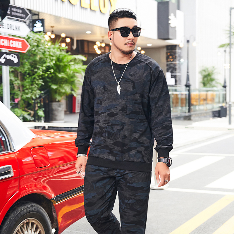 Tracksuit Mens Clothing Spring Autumn L-9XL Loose Casual Camouflage Long Sleeve Hoody + Sweatpants Men Sports Suit 2 Pieces Set