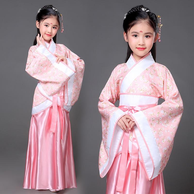 2019 Real New Chinese Hanfu Disfraz Children's Costume Tang Girl Fairy Women's Performance Ancient Princess Hanfu Royal Dress