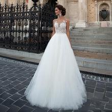 SoDigne Boho weselny sukienka 2020 tiulowe koronkowe aplikacje plażowa suknia ślubna ślub księżniczki sukienki biały/kości słoniowej przyciski