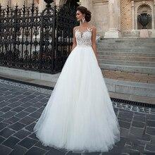 Sodigne boho vestido de casamento 2020 tule rendas apliques praia vestido de noiva princesa vestidos de casamento branco/lvory botões