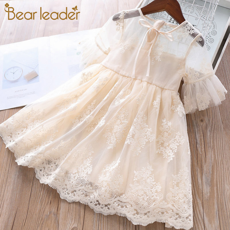 Bear Leader Girls Dress 2020 New Summer Princess Dress Elegant Lace Half Sleeve Costumes Party Dresses Children Clothing 3 7Y