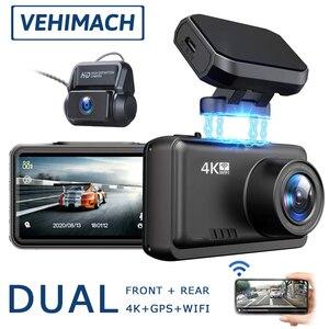 VEHIMACH Dual Dash Cam 4K DVR Mirror Car Video Recorder WIFI GPS Dashcam Front Rear View Camera Dash Auto 24h Parking Monitor