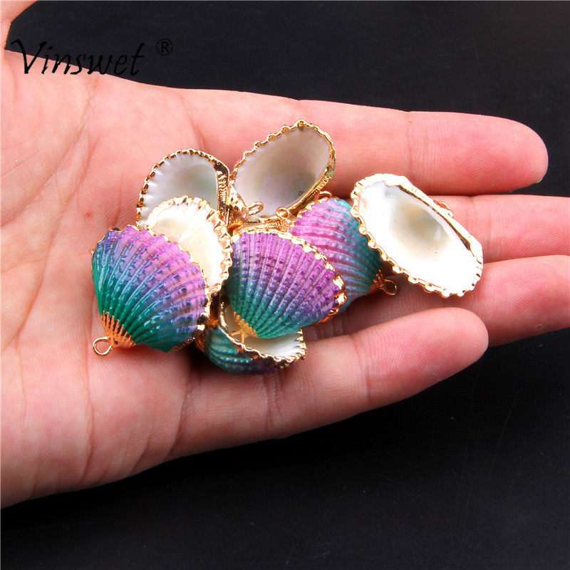 3pcs/lot Rainbow Natural Cowrie Shell Loose Beads for Jewelry Making DIY Charms Wholesale Finding Accessories(Size:29x26mm)