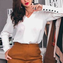 Women Back Button Blouse and Tops Office Ladies Sexy V Neck Long Sleeve Casual Solid Shirt 2020 Spring New Fashion Women Tops