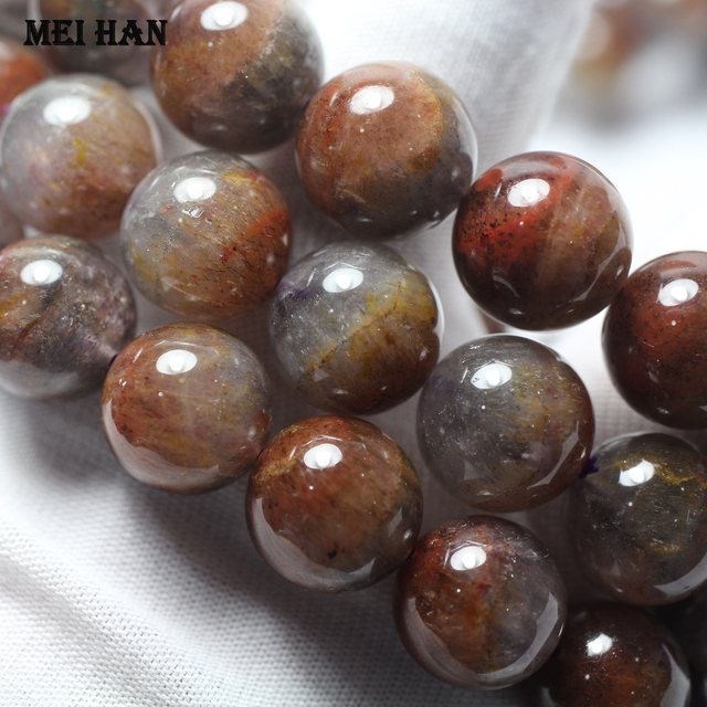 Wholesale (1 bracelet) 13 14mm genuine  Auralite 23 quartz  smooth round loose beads for Christmas gift jewelry making