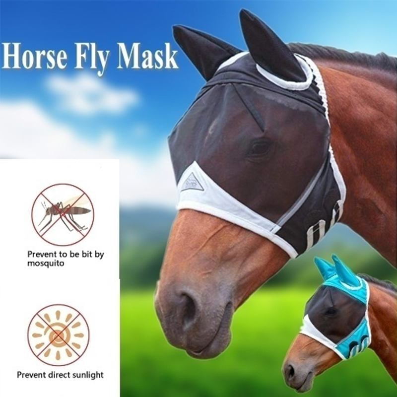 Horse Detachable Mesh Mask With Nasal Cover Horse Fly Mask Horse Full Face Mask Anti-mosquito Nose Breathable Comfort Fit Horse