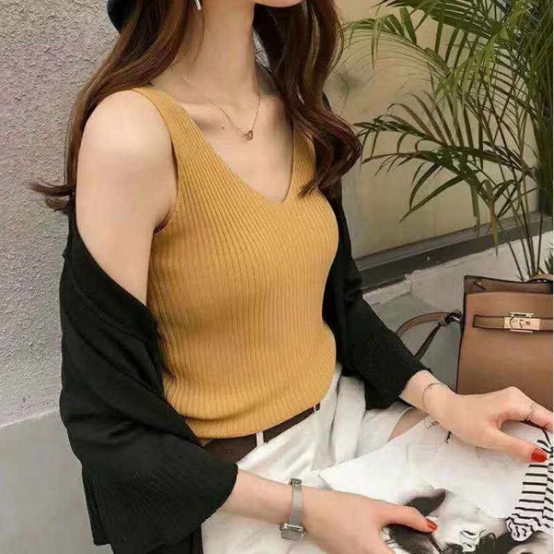 Été femmes nouveau Style Streetwear glace soie tricot gilet sans manches haut sexy Style coréen minceur mince femmes débardeur hauts