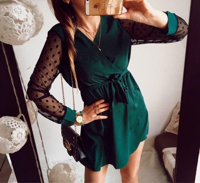 Robe élégante en dentelle, Mini à manches longues pour femme, col v, Mini à ceinture, nouvelle mode, automne 2019