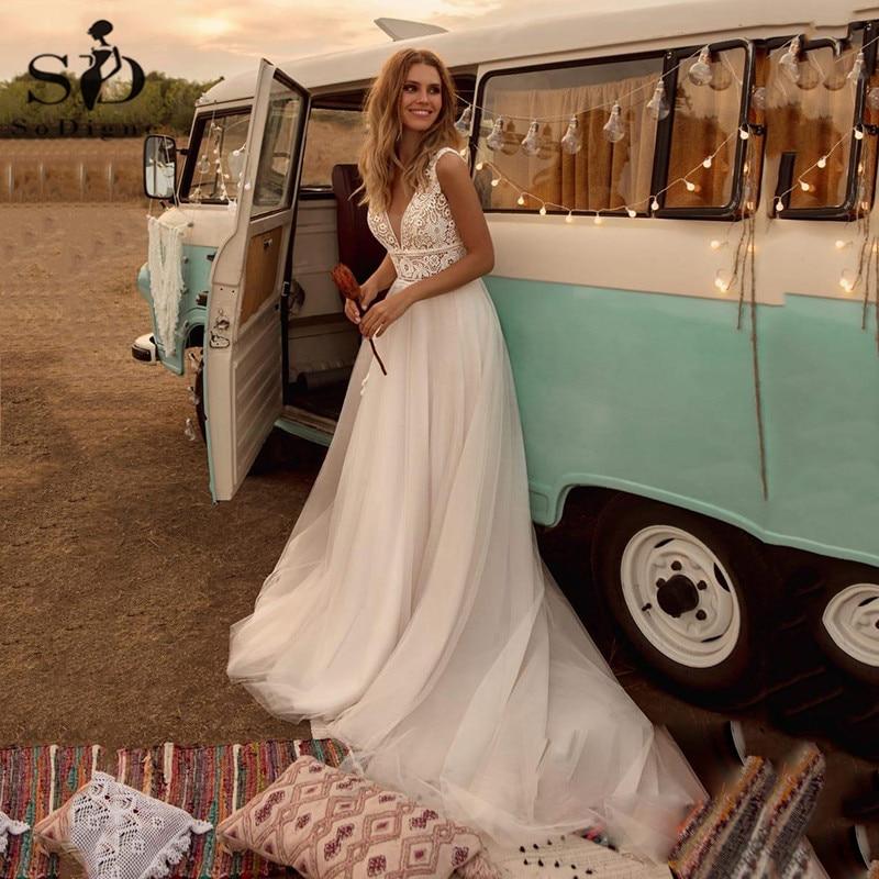 SoDigne Boho Wedding Dresses V Neck A Line Lace Appliques Beach vintage...
