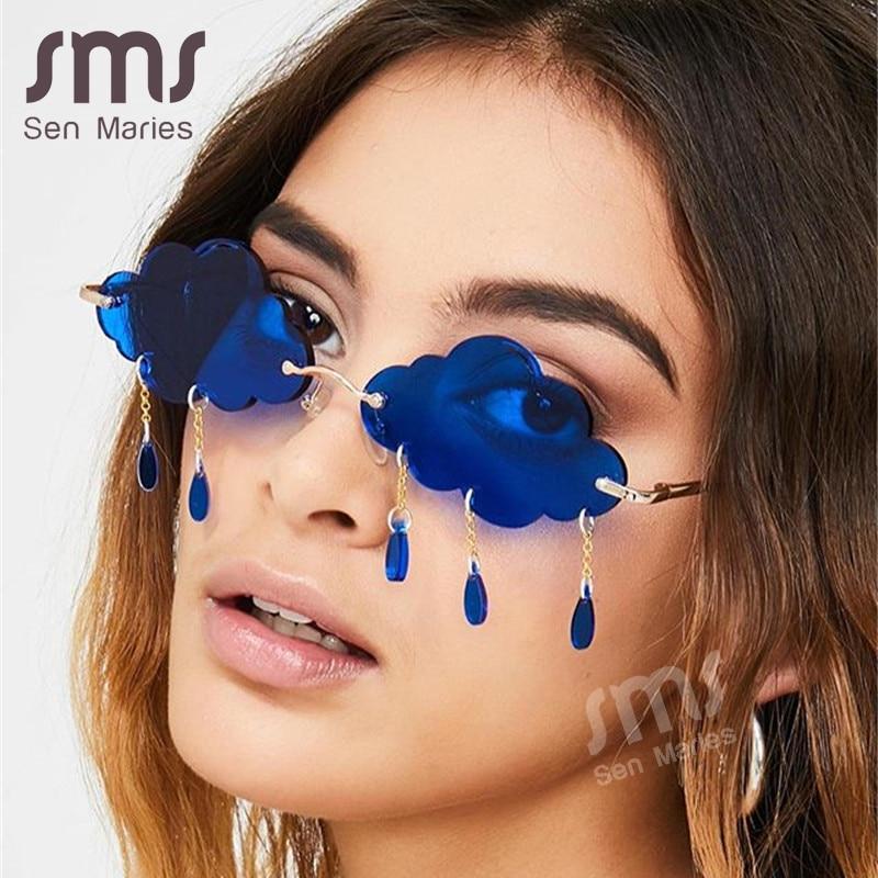 Mode Randlose Sonnenbrille Frauen 2020 Vintage Wolken Quaste Steampunk Sonnenbrille Männer Rahmenlose Punk Gläser Shades UV400 Oculos