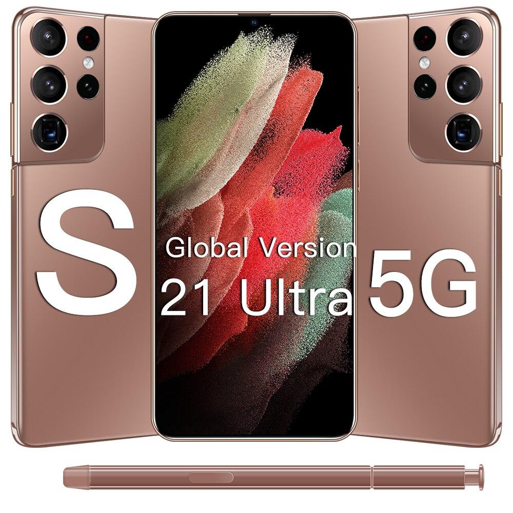 S21Ultra Andriod11 смартфонов 5G 6,7 дюймов 16 Гб Оперативная память 512 ГБ Встроенная память 6800 мАч мобильных телефонов MTK6889 с двумя сим-картами 4 аппарат...