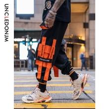 UNCLEDONJM Orange Multi pocket Cargo Pants Streetwear Tactical Harem Men Sweatpants Mens Casual Joggers 262W