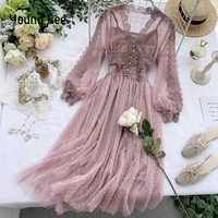 Jovem vestido de renda floral feminino com decote em v mangas compridas midi feminino polka dot pérolas único breasted doce malha vestidos ropa mujer