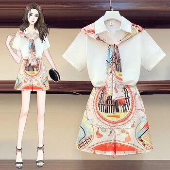 Summer Two Piece Set Women Fashion Patchwork Scarf Bow Shirt Top + Chiffon Print Elastic Waist Shorts Set Two Pieces Suit 1
