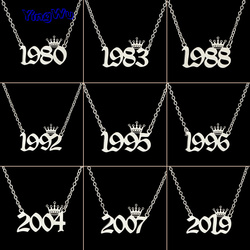 Stainless Steel Year Number Necklaces for Women Unique Design Birthday Tiaras Crown Year 1984 1994 1996 2002 Choker Gift