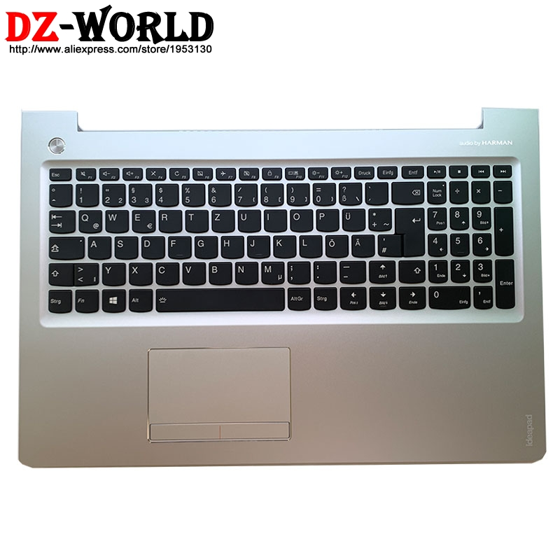 New/orig Palmrest silver Upper Case With German Backlit Keyboard Touchpad for Lenovo Ideapad 510-15ISK Laptop C Cover 5CB0L37504