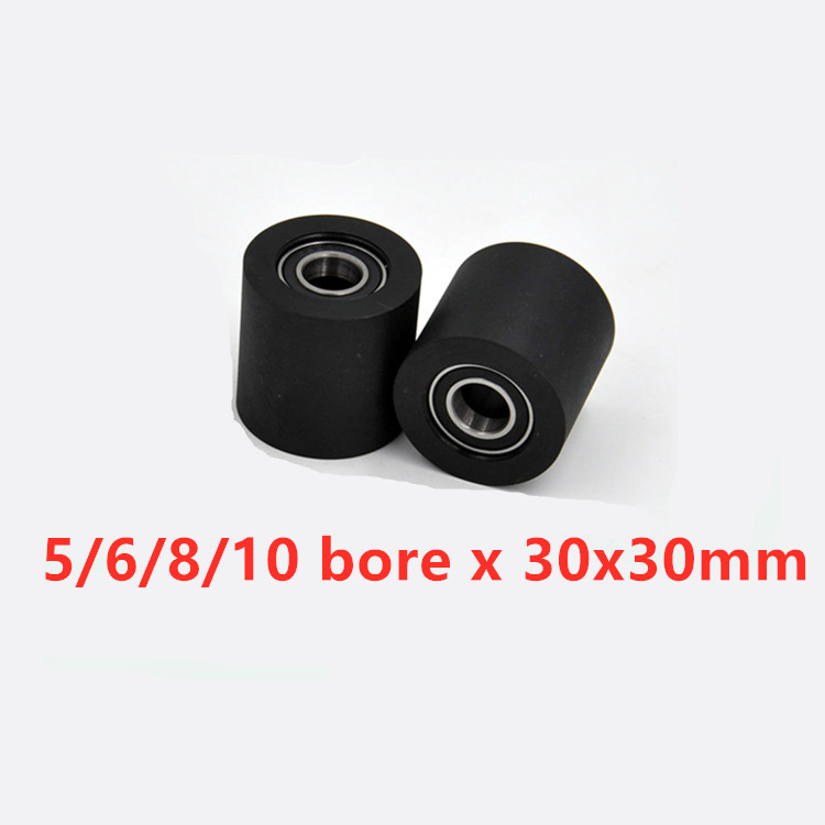 6pcs/lot Widened Polyurethane Roller/wheel/pulleys Diameter 30mm,thickness 30mm With Double Bearings Bore 5/ 6/8/10mm