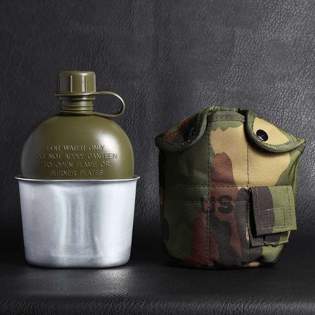 Heavy Cover Army Water Bottle Aluminum Cooking Cup Military Canteen Camping Hiking Survival Kettle Outdoor Tableware 1