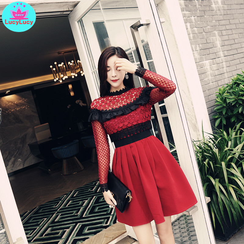 French niche 2019 autumn and winter new retro bud silk yarn stitching pleated birthday party dress