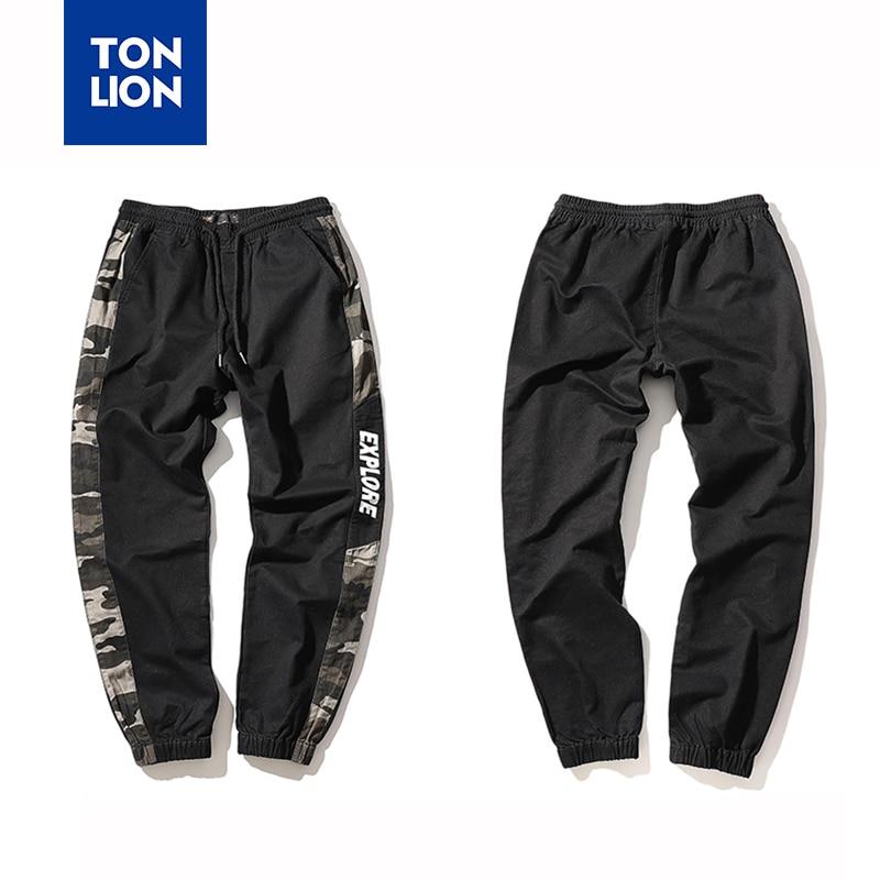 TONLION Brand Mens Casual Trousers Cotton Elastic Waist Pants Full Length Side Stripe Pencil Pants Spring Autumn Pant Men 2020