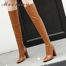 Boots Women Thick-Heels Over-The-Knee Meotina Shoes Pointed-Toe Winter 43 Lady Zip Zip-Extreme