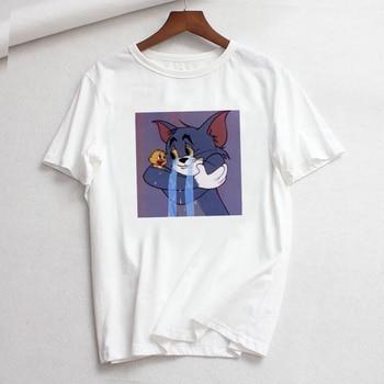 Tee Shirt Femme O-neck Short Sleeve Tshirt Cat Tom Mouse Jerry Cartoon Print Cotton Tshirt Summer Loose T Shirts for Women Tops zapros mnie na kawe meska koszulka polska super koszulki polski polish tshirt 100% cotton short sleeve o neck tops tee shirts