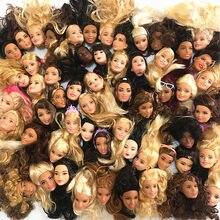 10 pçs/lote comércio exterior original menina cabeças para barbies diy 1/6 bonecas cabeças imperfeitas crianças presente de aniversário jogando brinquedos aleatoriamente