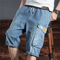 SHAN BAO Men's Trendy Personality Hip Hop Loose Straight Cotton Jeans 2021 Summer Big Pocket Brand Fashion Cropped Pants