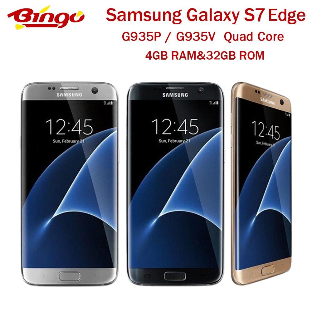 Мобильный телефон Samsung Galaxy S7 Edge, разблокированный, версия США, G935P, G935V, LTE, Android, четырёхъядерный, экран 5,5 дюйма, 12 МП и 5 МП, 4 Гб ОЗУ 32 Гб ПЗУ, NFC