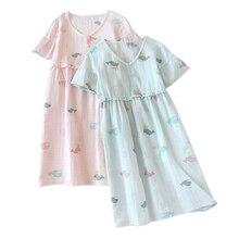 Yaz kawaii karikatür % 100% pamuk nightgowns kadınlar gece elbisesi japon rahat kısa kollu kapalı uyku elbise kadınlar için