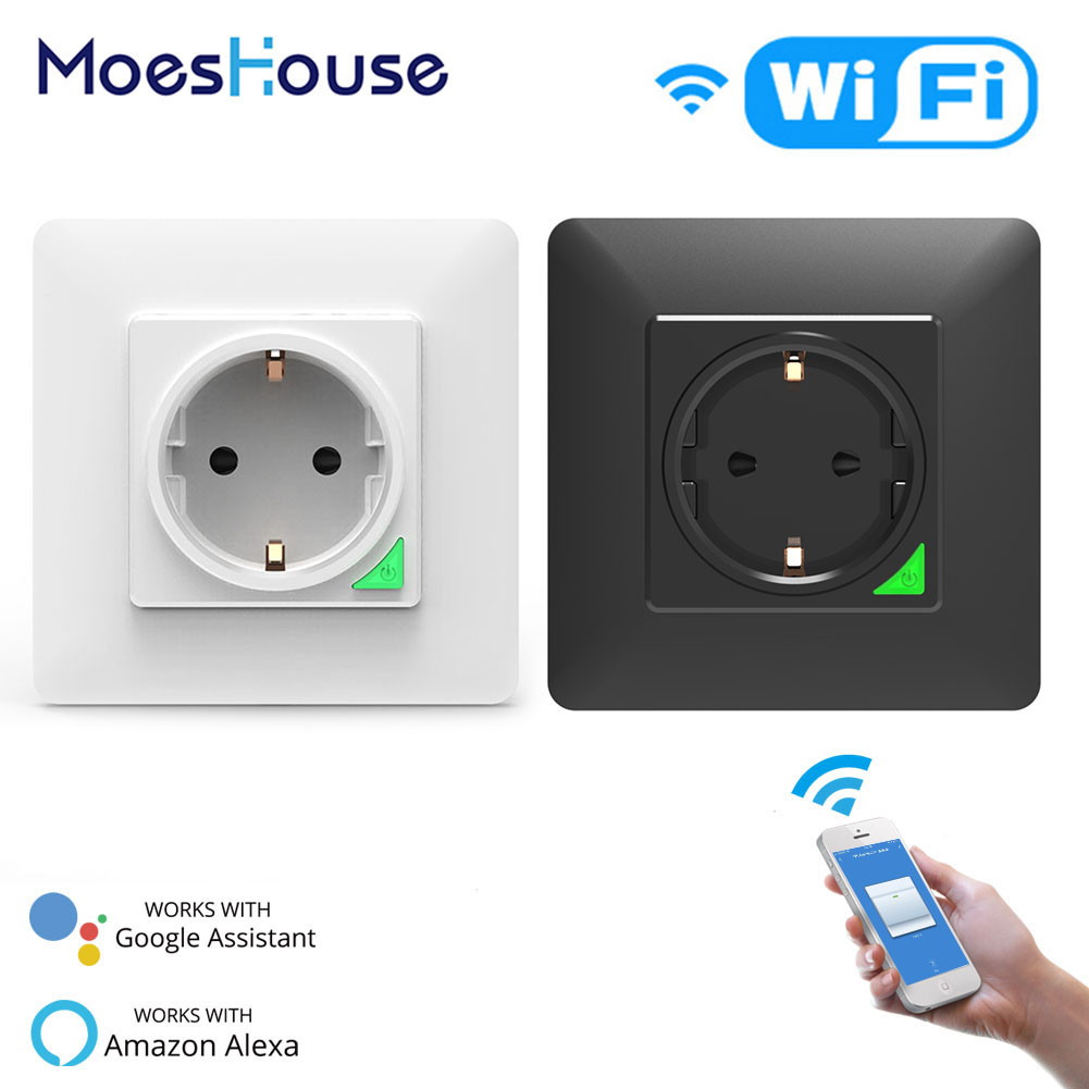 WiFi DE Smart Socket Freely Removable&Detachable From Wall Plate Smart Life Tuya App Remote Control Work With Alexa Google Home