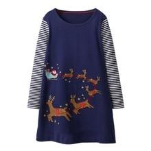 купить Baby Girls Clothes Vestiods Unicorn Appliques Christmas Dress Girl Party Dress Long Sleeve Princess Dress for Children Clothing по цене 418.79 рублей