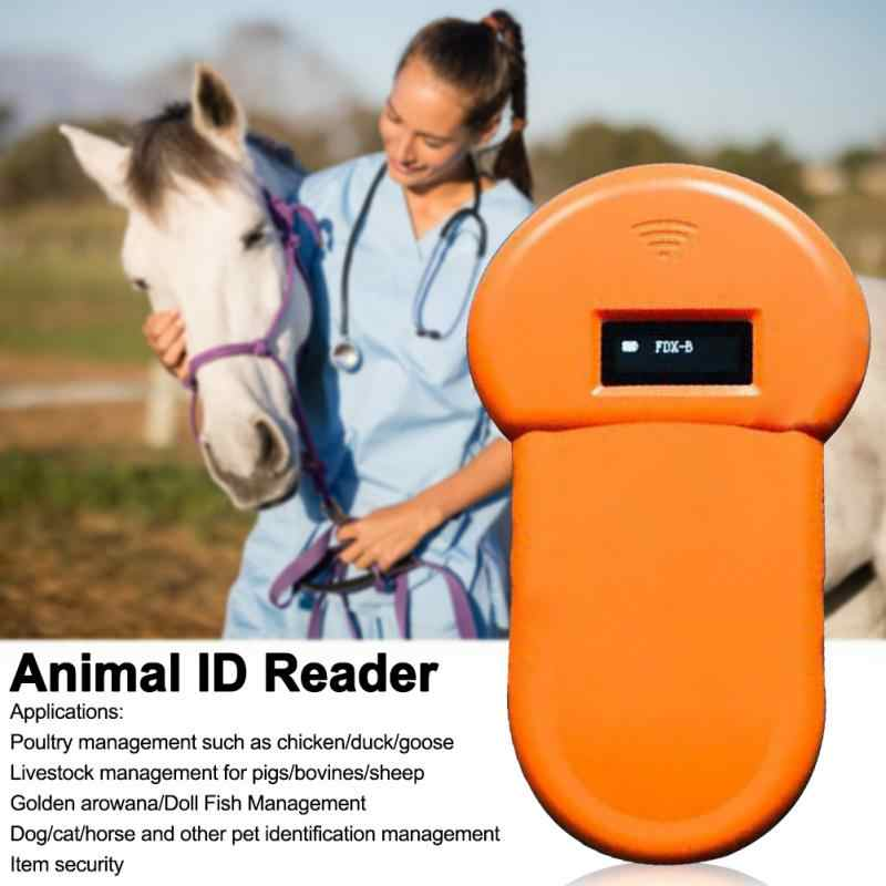 Pet ID Reader Scanner for Cats Horse Pet Dog Handheld Portable OLED Display Low Frequency Built-in Buzzer Home Tracking ABS Microchip Scanner Rechargeable Stable FDX-B Animal ID Reader
