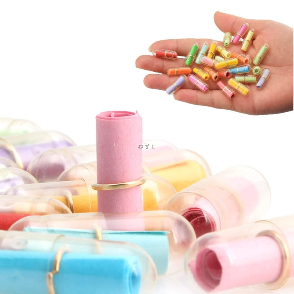 100pcs/Lot Message In A Bottle Message Cute Capsule Letter Love Pill Full Clear Color Mini Wish Bottle