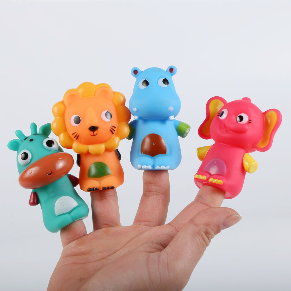4Pcs Interactive rubber Animal Finger Puppet Doll Set Cute Cartoon Animal Finger Toys Child Baby Favors Dolls Boys Girls Gifts