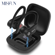 MISFUN True Wireless Earbuds TWS Bluetooth Earphone 5.0 with Charger Box Sports Earhook Wireless  Headphones for iphone xiaomi