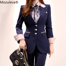 Mozuleva Stylish Women Pant Suit Office Ladies Single-breasted Slim Women Blazer