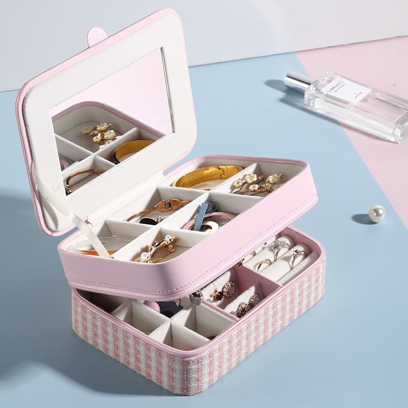 Casegrace Double Layer Portable Travel Jewelry Box With Mirror Leather Display Organizer Storage Case For Earrings Necklace Ring