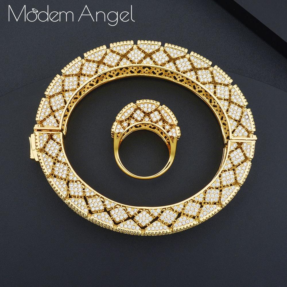 ModemAngel luxe géométrie bracelet anneaux ensembles de mode Dubai argent bijoux de mariée ensembles pour les femmes de mariage brincos para as mulheres