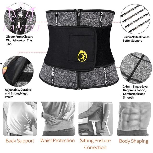 LANFEI Thermo Body Shspers Slimming Belt Men Neoprene Double Waist Trainer Sweat Corset Weight Loss Home Fitness Sauna Shapewear 4
